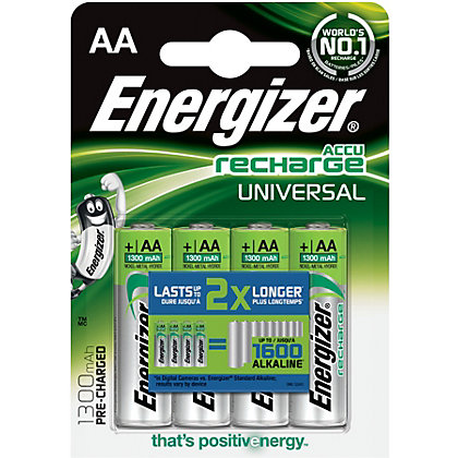 Image for Energizer Rechargeable AA 1300mAh Batteries - 4 Pack from StoreName