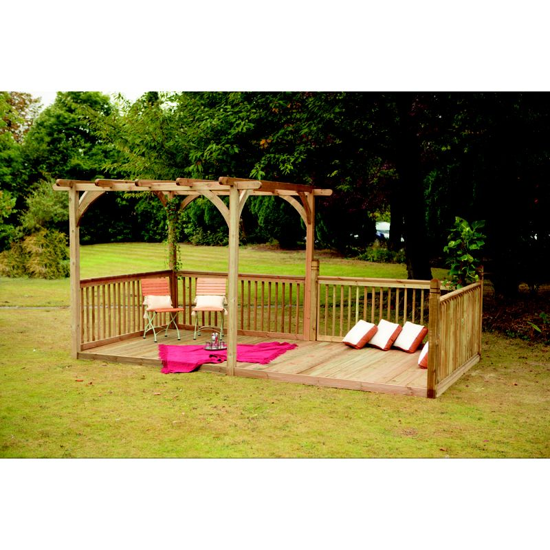 Forest ultima pergola deck kit 16x8 for Garden decking homebase