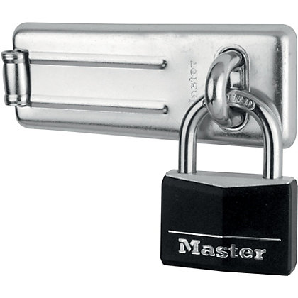 Image for Master Lock 50mm Black Covered Aluminium Padlock with 115mm Hard Wrought Steel Hasp from StoreName