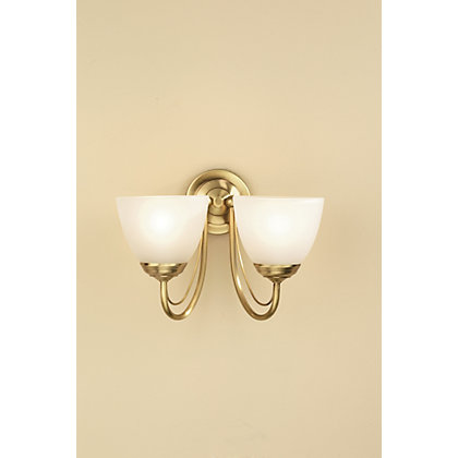 Image for Rome Wall Light - Antique Brass Effect/Frosted Glass - 30.5cm from StoreName