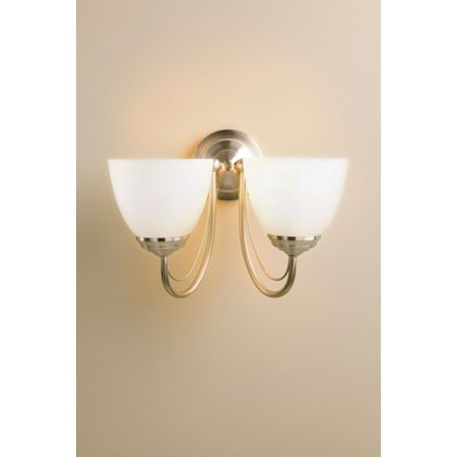 Wall Lights Homebase: Rome Wall Light - Satin Nickel Effect/Frosted Glass - 30.5cm,Lighting