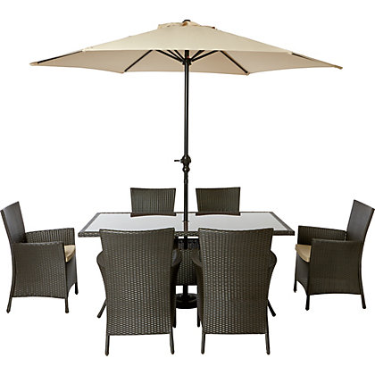 Image for Panama 6 Seater Rattan Effect Garden Furniture Set from StoreName