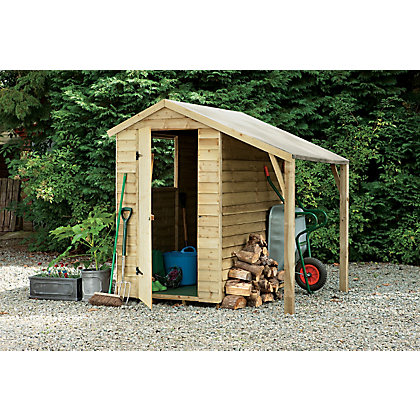 overlap shed with lean to 6x4ft at homebase be. Black Bedroom Furniture Sets. Home Design Ideas