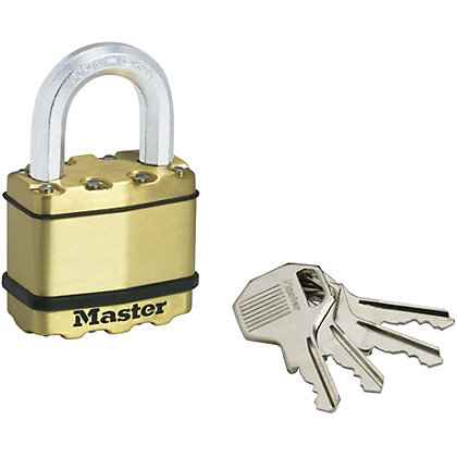 Image for Master Lock Excell Laminated Steel Padlock with Brass Finish - 50mm from StoreName
