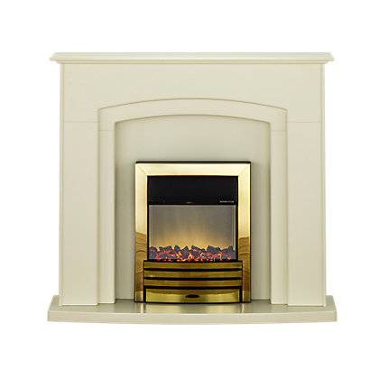 Image for Adam Falmouth Electric Fireplace Suite with Brass Fire from StoreName