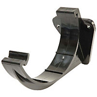 112mm Half Round Support Bracket - Black - 125 x 70 x 90mm