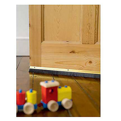 Image for Stormguard Brush Bottom Door Strip Draught Excluder- Gold from StoreName