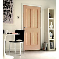 London 4 Panel White Oak Internal Door - 762mm Wide