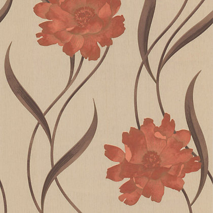 Image for Superfresco Texture Poppy Wallpaper - Burnt Orange and Cream from StoreName