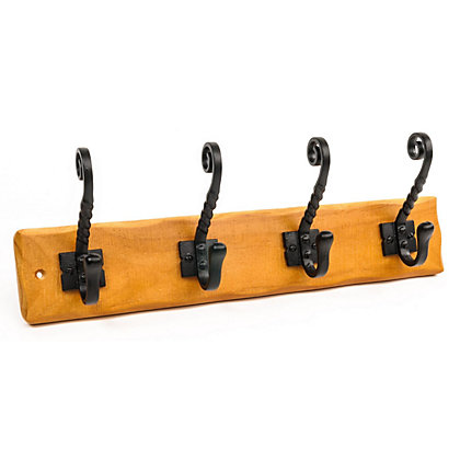 Image for Rust Pine Hook Rail - 4 Iron Tudor Hooks from StoreName