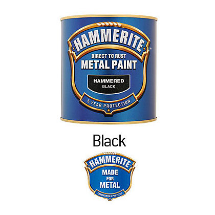 Image for Hammerite Black - Hammered Exterior Metal Paint - 250ml from StoreName