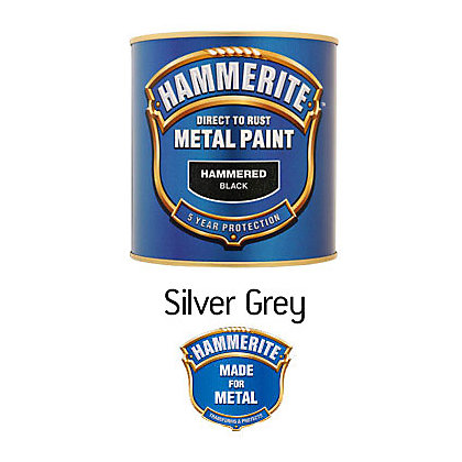 Image for Hammerite Silver Grey - Hammered Exterior Metal Paint - 250ml from StoreName