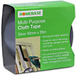 Homebase Multi-purpose Cloth Tape - Silver - 50mm x 25m