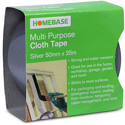 Image for Homebase Multi-purpose Cloth Tape - Silver - 50mm x 25m from StoreName