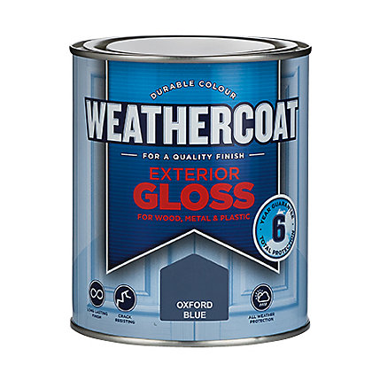 Image for Homebase Weathercoat Oxford Blue - Exterior Gloss Paint - 750ml from StoreName