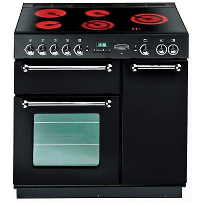 Image for Rangemaster 67470 90cm Electric Ceramic Cooker - Black & Chrome from StoreName