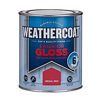 Homebase Weathercoat Regal Red - Exterior Gloss Paint - 750ml