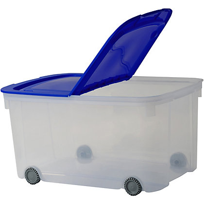 Image for Logic Box With Wheels - Clear With Blue Lid - 51L from StoreName