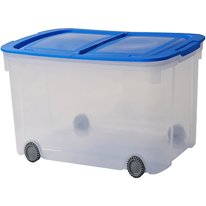 Image for Curver Logic Box With Wheels - Clear With Blue Lid - 70L from StoreName