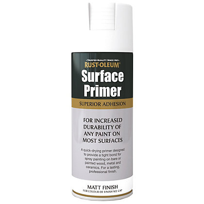Image for Rust-Oleum Surface Primer Spray Paint - White - 400ml from StoreName
