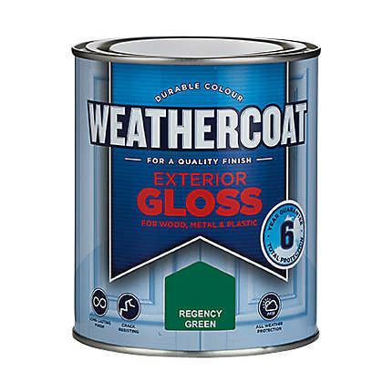 Image for Homebase Weathercoat Regency Green - Exterior Gloss Paint - 750ml from StoreName
