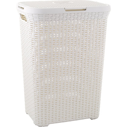 curver rattan style rectangular laundry hamper vintage white 60l. Black Bedroom Furniture Sets. Home Design Ideas