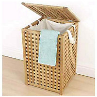 Solid Wood Laundry Bin- Walnut Lattice