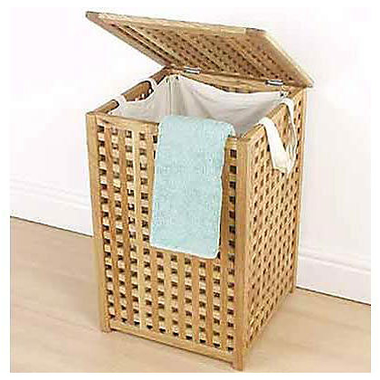 Image for Solid Wood Laundry Bin- Walnut Lattice from StoreName