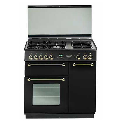 Image for Rangemaster 73530 90 Natural Gas Cooker - Black & Chrome from StoreName