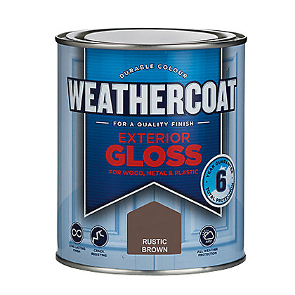 Image for Homebase Weathercoat Rustic Brown - Exterior Gloss Paint - 750ml from StoreName