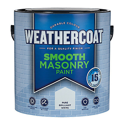 Image for Homebase Weathercoat Pure Brilliant White - Smooth Matt Masonry Paint - 2.5L from StoreName