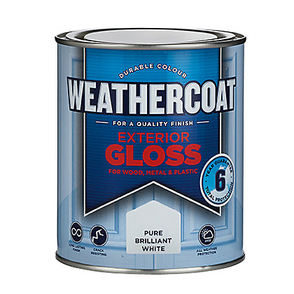 Image for Homebase Weathercoat Pure Brilliant White - Exterior Gloss Paint - 750ML from StoreName