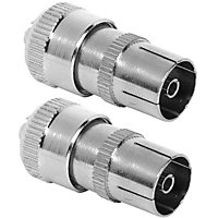 Homebase - Coaxial Alloy Sockets For TV Or FM - Pack of 2