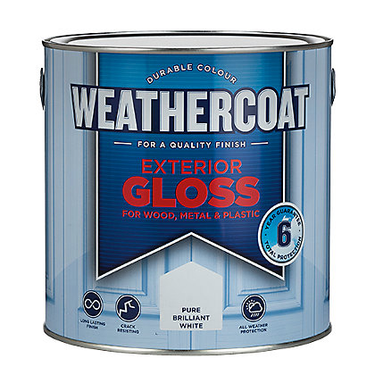 Image for Homebase Weathercoat Pure Brilliant White - Exterior Gloss Paint - 2.5L from StoreName