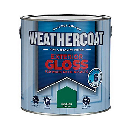 Image for Homebase Weathercoat Regency Green - Exterior Gloss Paint - 2.5L from StoreName