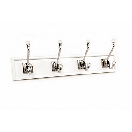 Image for White Hook Rail - Polished Nickel - 4 Crystal Hooks from StoreName