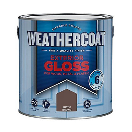 Image for Homebase Weathercoat Rustic Brown - Exterior Gloss Paint - 2.5L from StoreName