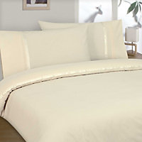 Aimee Ribbon and Pleat Duvet Cover Set - Cream - Single