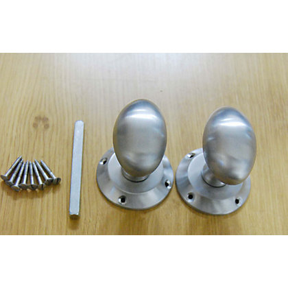 Image for Oval Mortice Door Knob - Satin Chrome - 1 Pair from StoreName