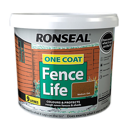 Image for Ronseal One Coat Fence Life Medium Oak - 9L from StoreName