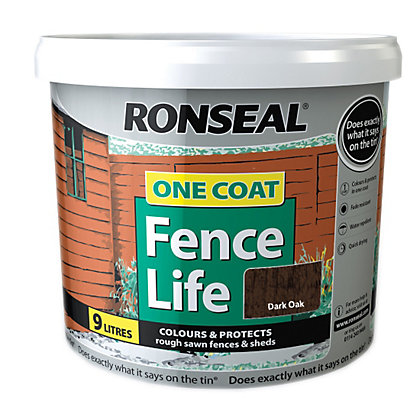 Image for Ronseal One Coat Fence Life Dark Oak - 9L from StoreName