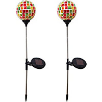 Solar Mosaic Glass Ball Spike Lights - 2 Pack