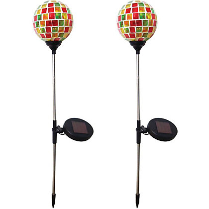 Image for Solar Mosaic Glass Ball Spike Lights - 2 Pack from StoreName