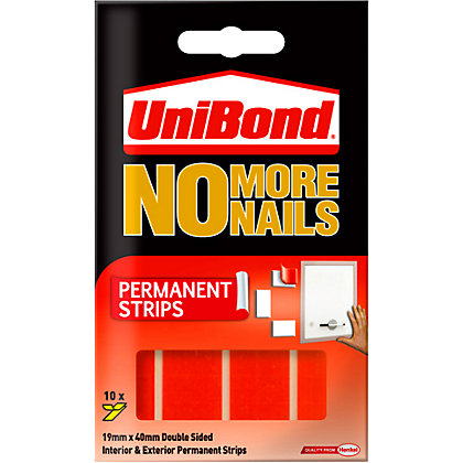 Image for UniBond No More Nails Permanent Double Sided Strips - 10 Pack from StoreName