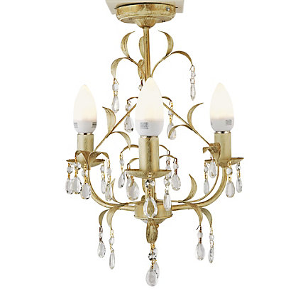 Image for Gemini - 3 Light Ceiling Fitting - Cream/Gold from StoreName