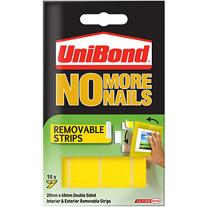 Image for Unibond No More Nails Removable Strips - White - 10 piece x 20mm x 40mm from StoreName