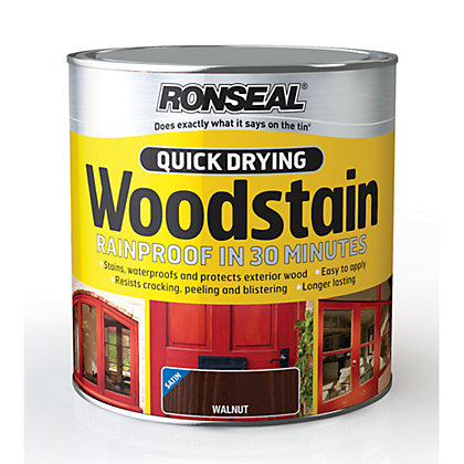 Image for Ronseal Quick Drying Woodstain Satin Walnut - 2.5L from StoreName