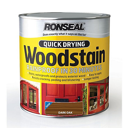 Image for Ronseal Quick Drying Woodstain Satin Dark Oak - 2.5L from StoreName