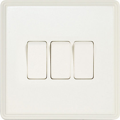 Image for Laura Ashley 10A 2-Way Light Switch - Triple - Cream from StoreName