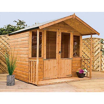 Image for Mercia Brighton Golden Brown Summerhouse and Veranda - 6ft 11in x 8ft 4in from StoreName